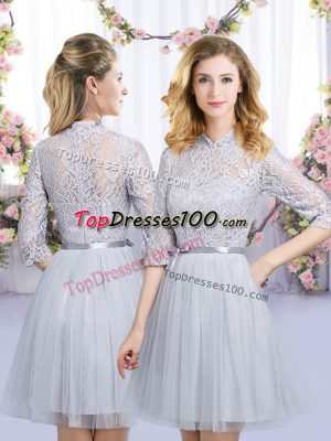Unique Tulle High-neck Half Sleeves Zipper Lace and Belt Bridesmaids Dress in Grey