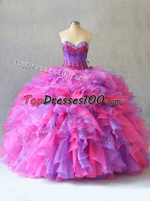 Wonderful Organza Sleeveless Quinceanera Dresses and Beading and Ruffles