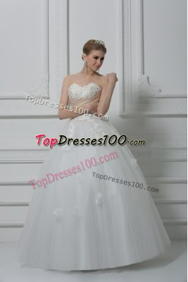 Unique Beading and Appliques Wedding Gown White Lace Up Sleeveless Floor Length