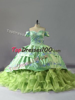 Lovely Yellow Green Sleeveless Chapel Train Embroidery and Ruffles Sweet 16 Dresses