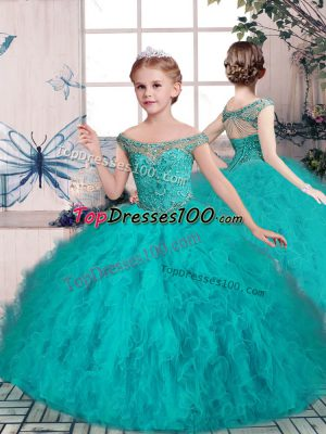 Teal Sleeveless Tulle Lace Up Little Girls Pageant Gowns for Party and Sweet 16 and Wedding Party