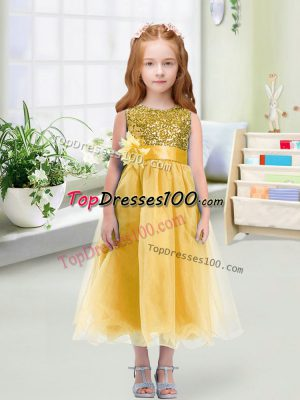 Custom Designed Tea Length Empire Sleeveless Gold Flower Girl Dress Zipper