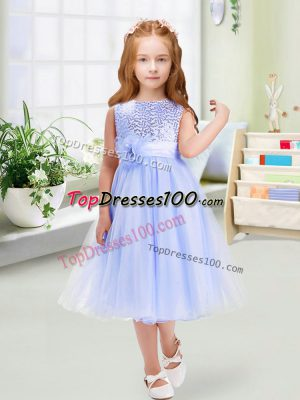 Pretty Sleeveless Tea Length Sequins and Hand Made Flower Zipper Toddler Flower Girl Dress with Lavender