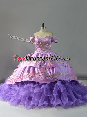 Decent Off The Shoulder Sleeveless Sweet 16 Dresses Chapel Train Embroidery and Ruffles Lavender Organza