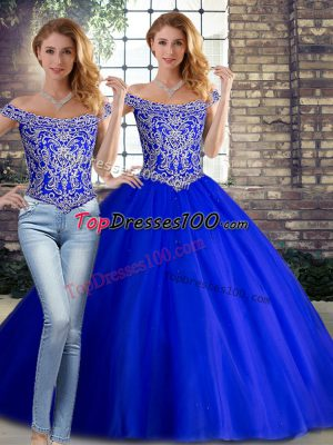 Sleeveless Tulle Brush Train Lace Up Sweet 16 Dress in Royal Blue with Beading
