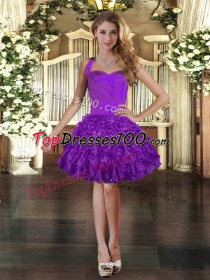 Noble Halter Top Sleeveless Organza Party Dress Wholesale Ruffles Lace Up