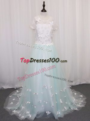 Beauteous Tulle Scoop Short Sleeves Brush Train Clasp Handle Appliques Flower Girl Dresses in Apple Green