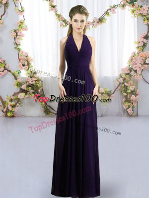 Ruching Wedding Party Dress Dark Purple Zipper Sleeveless Floor Length