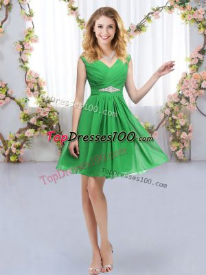 Eye-catching Green Chiffon Zipper V-neck Sleeveless Mini Length Wedding Guest Dresses Belt