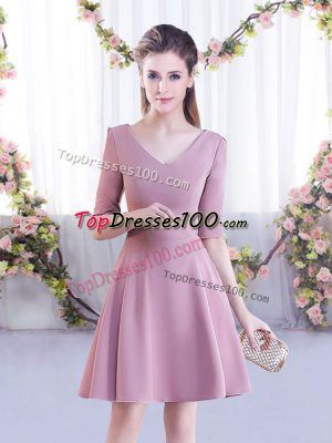 Spectacular Pink Half Sleeves Ruching Mini Length Wedding Party Dress