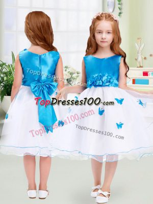 Knee Length A-line Sleeveless White Flower Girl Dress Zipper