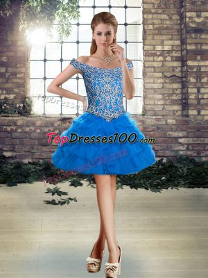 Sleeveless Beading and Pick Ups Lace Up Homecoming Dress Online