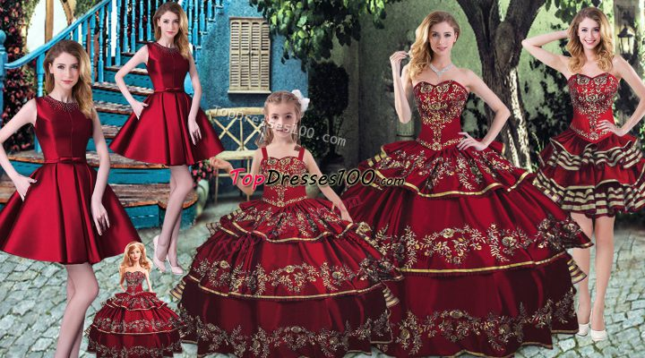 Comfortable Wine Red Sleeveless Embroidery and Ruffled Layers Floor Length Sweet 16 Dresses