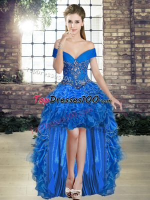 High Low Royal Blue Hoco Dress Off The Shoulder Sleeveless Lace Up