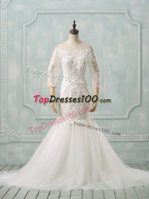 3 4 Length Sleeve Watteau Train Lace Lace Up Wedding Gowns