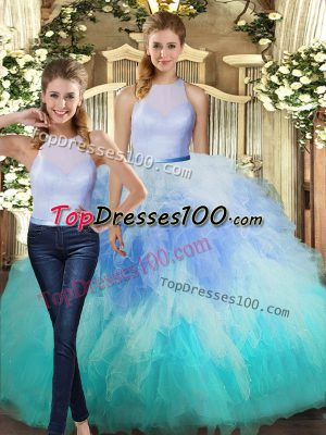 Fantastic Floor Length Backless 15 Quinceanera Dress Multi-color for Military Ball and Sweet 16 and Quinceanera with Ruffles