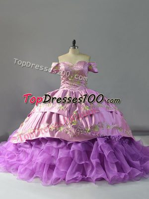 Lavender Sleeveless Organza Chapel Train Lace Up Quinceanera Dress for Sweet 16 and Quinceanera