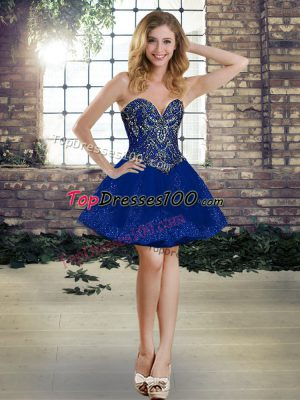 Stylish Sleeveless Tulle Mini Length Lace Up Homecoming Dresses in Royal Blue with Beading