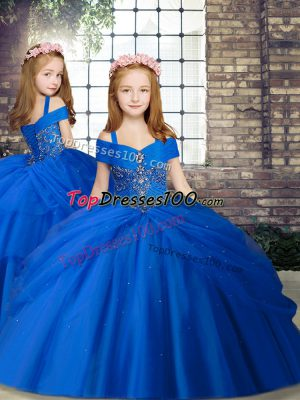 Sleeveless Chiffon Floor Length Lace Up Kids Pageant Dress in Royal Blue with Beading
