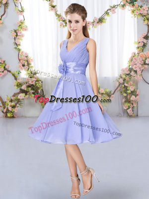 Enchanting Knee Length Lavender Bridesmaid Dresses V-neck Sleeveless Lace Up