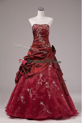 Free and Easy Strapless Sleeveless Lace Up Sweet 16 Quinceanera Dress Burgundy Organza and Taffeta