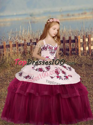 Hot Selling Fuchsia Straps Side Zipper Embroidery Girls Pageant Dresses Sleeveless