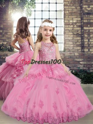 Beading and Appliques Kids Pageant Dress Lilac Lace Up Sleeveless Floor Length