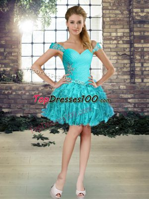Aqua Blue Off The Shoulder Neckline Beading and Ruffles Prom Dress Sleeveless Lace Up