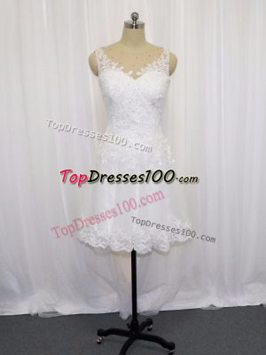 Classical White Empire Beading and Lace Wedding Dresses Zipper Tulle Sleeveless Mini Length
