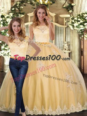 Gold Scoop Neckline Lace and Appliques Ball Gown Prom Dress Sleeveless Clasp Handle