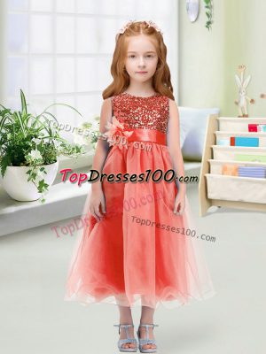 Organza Sleeveless Tea Length Toddler Flower Girl Dress and Sequins and Hand Made Flower