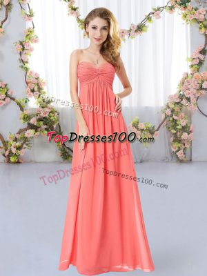 Flare Watermelon Red Bridesmaid Dress Wedding Party with Ruching Sweetheart Sleeveless Zipper