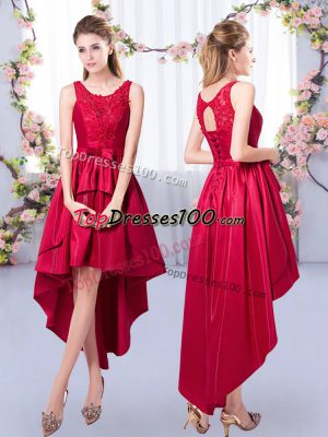 Scoop Sleeveless Lace Up Bridesmaid Gown Red Satin