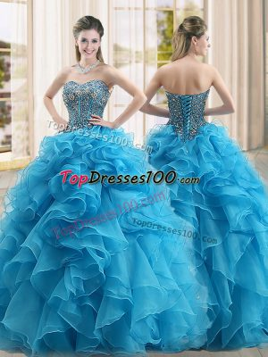 Ball Gowns 15th Birthday Dress Baby Blue Sweetheart Organza Sleeveless Floor Length Lace Up