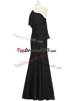 Lovely Floor Length Mermaid Sleeveless Black Evening Dress Side Zipper