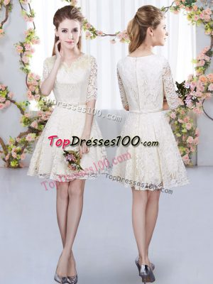 Beautiful Champagne A-line V-neck Half Sleeves Lace Mini Length Zipper Belt Wedding Party Dress
