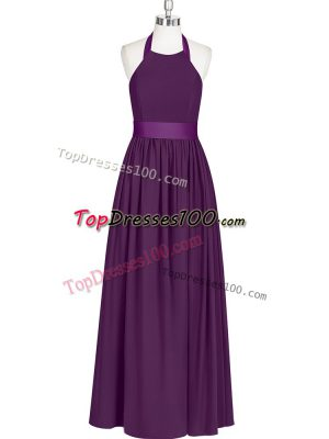 Top Selling Eggplant Purple Prom Dresses Prom and Party with Ruching Halter Top Sleeveless Zipper