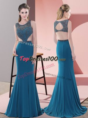 Custom Made Blue Scoop Backless Beading Prom Dresses Sweep Train Sleeveless