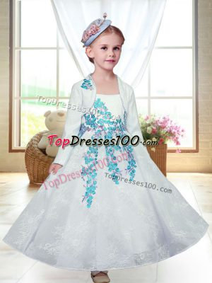 White Lace Zipper Straps Sleeveless Ankle Length Toddler Flower Girl Dress Embroidery