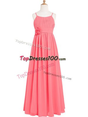 Classical Watermelon Red Zipper Prom Dress Pleated and Hand Made Flower Sleeveless Floor Length