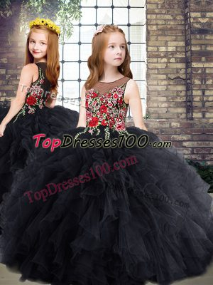 Superior Black Ball Gowns Scoop Sleeveless Tulle Floor Length Zipper Embroidery and Ruffles Little Girls Pageant Dress
