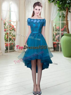 Trendy Off The Shoulder Short Sleeves Tulle Evening Dress Appliques Lace Up