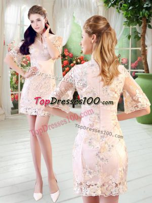 Super High-neck Half Sleeves Homecoming Dress Lace Zipper