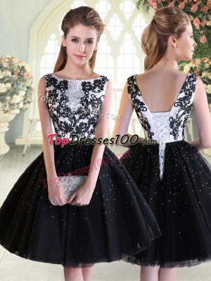 Black Ball Gowns Tulle Scoop Sleeveless Beading and Lace Mini Length Lace Up