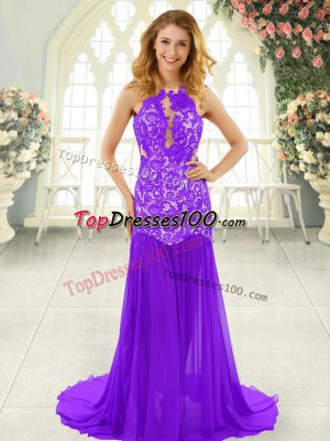 Excellent Brush Train Mermaid Formal Evening Gowns Lavender Scoop Chiffon Sleeveless Backless