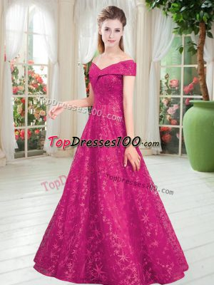 Fuchsia Prom and Party with Beading Off The Shoulder Sleeveless Lace Up