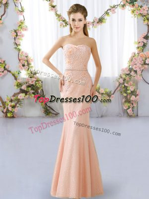 Designer Sleeveless Floor Length Beading Lace Up Wedding Party Dress with Peach