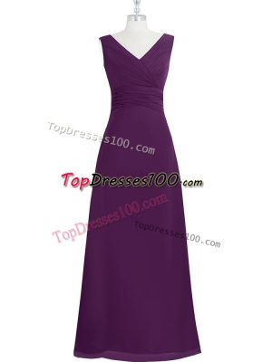 Delicate Sleeveless Chiffon Floor Length Zipper Evening Dress in Eggplant Purple with Ruching