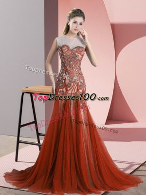 Charming Scoop Sleeveless Evening Dress Sweep Train Beading Rust Red Tulle