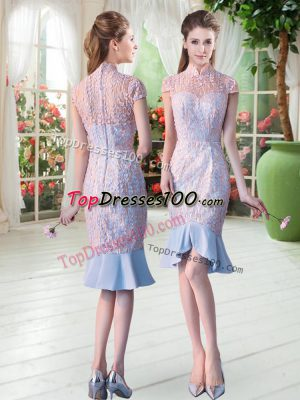 Fabulous Short Sleeves Zipper Knee Length Lace Homecoming Dress